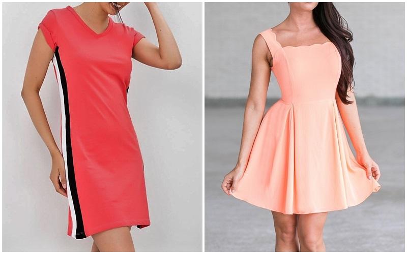 wear a coral dress